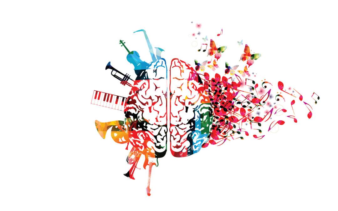 cervello con note e strumenti musicali
