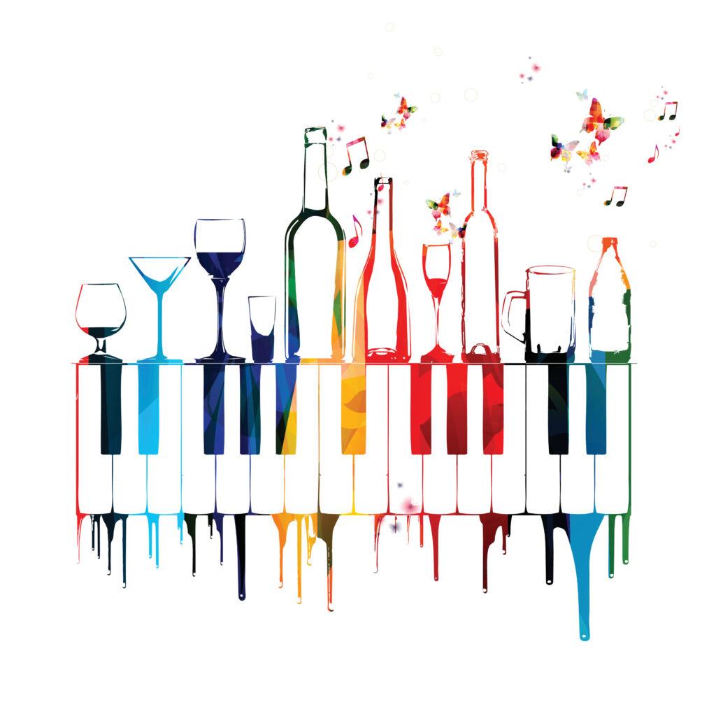 tastiera pianoforte con appoggiate drink e bottiglie