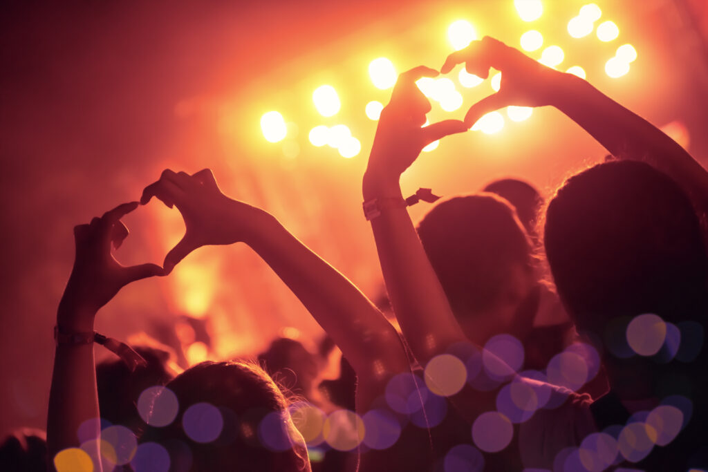 persone ad un concerto che ascoltano musica